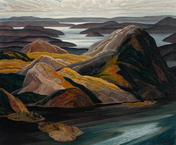 """Grace Lake,"" Franklin Carmichael, 1931, oil on canvas, 40 1/2 x 48 1/2"", University of Toronto Art Collection."