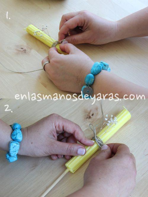 Decorar una vela #enlasmanosdeyaras . Para conocer más visita el blog enlasmanosdeyaras.com