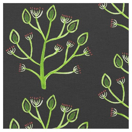 Folk Art Floral Fabric in black red and green