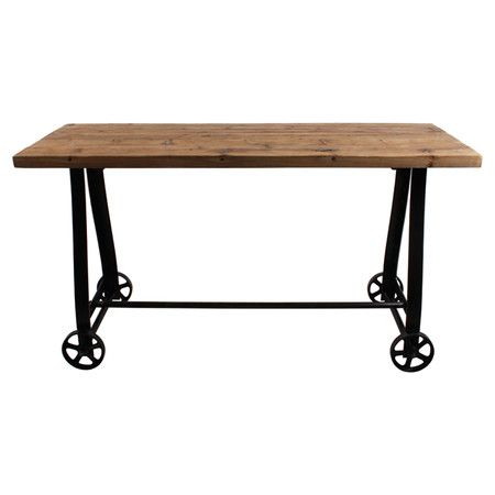 Brimming with rustic appeal, this pine wood console table, featuring wheel detailing, pairs perfectly with brown leather sofas and distressed metal wall cloc...