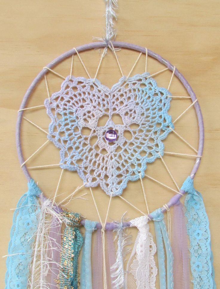 "Doily Dreamcatcher ""Pastel Heart""... hippie, boho, wedding decor, vintage, upcycled, blue, purple, etsyau, australian wandarrah by doilydreaming on Etsy"