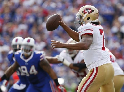49ers vs. Bills:     October 16, 2016  -  45-16, Bills  -    Oct 16, 2016; Orchard Park, NY, USA; San Francisco 49ers quarterback Colin Kaepernick (7) scrambles under pressure by the Buffalo Bills defense during the first half at New Era Field. Mandatory Credit: Kevin Hoffman-USA TODAY Sports