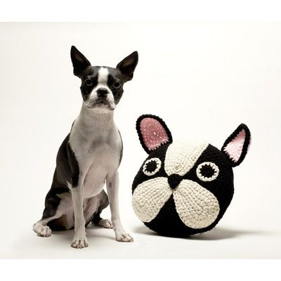 Peanut Butter Dynamite Crochet Acrylic Boston Terrier / Frenchie Pillow