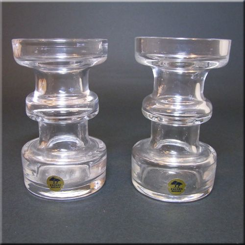 Pair of Ekenas Glasbruk Swedish labelled clear glass candlestick holders.