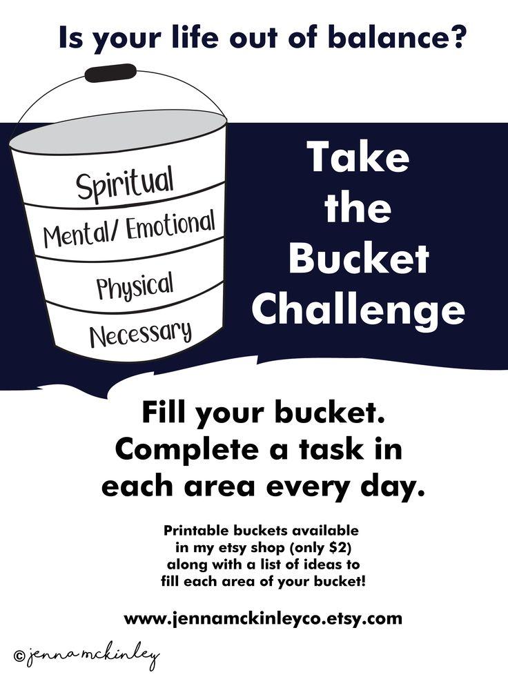 PRINTABLE Bucket Challenge Self Care Instant Download