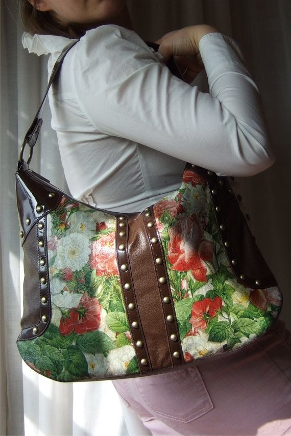 Shabby Chic BAG  everyday bag  Decoupage bag  by CharmeParisien