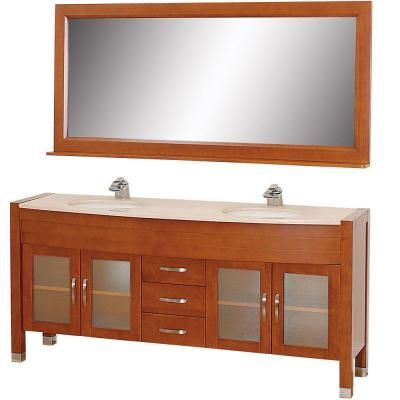 Image Gallery Website Wyndham Collection Daytona in Vanity in Cherry with Double Basin Marble Vanity Top in Ivory and Mirror