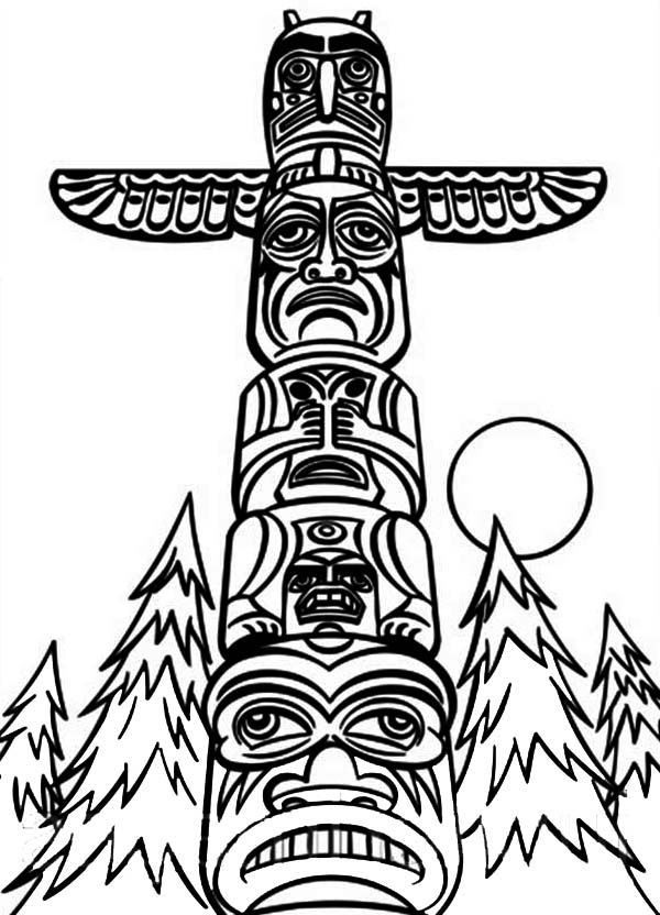 indian totem pole coloring pages | Monumental Totem Poles Coloring Page | Coloring pages for ...