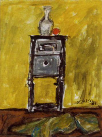 Józef Czapski 'Karafka z pomarańczą', 1984
