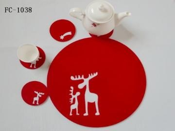 Laser cut felt coasters and placemats    Material: 100% polyester felt  Size: 10cm Thickness: 3mm