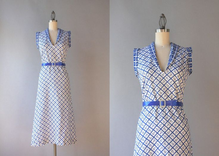 Vestido de la década de 1930 / algodón y hebilla del cinturón en nácar / HolliePoint