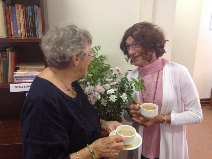 Mrs Smith and Jocey at church.