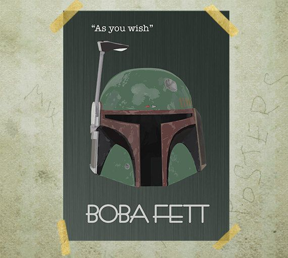 Boba Fett Star Wars poster print A3 by MixPosters on Etsy, $17.00