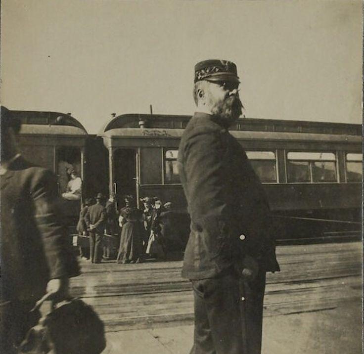 John Philip Sousa on tour by train, Colorado Springs, Colorado, circa 1900.