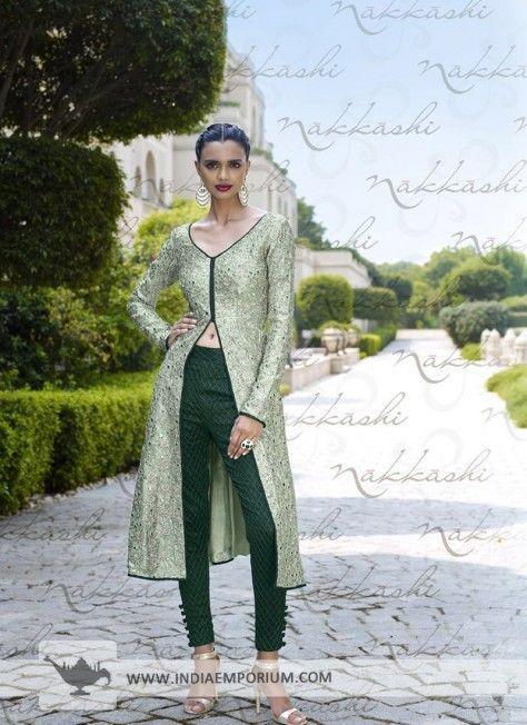 Green Impressive Bhagalpuri Silk Slit Pant Suit/Lehenga