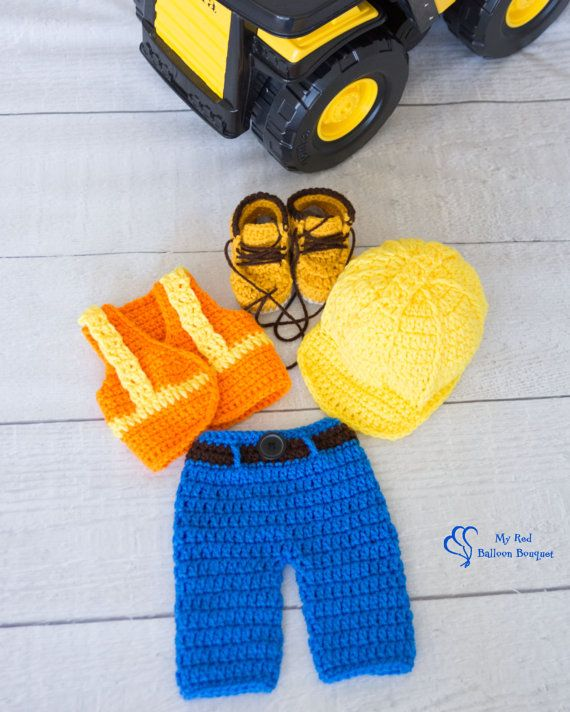 Construction Worker Photography Prop Hard hat, pants, safety vest and work boots