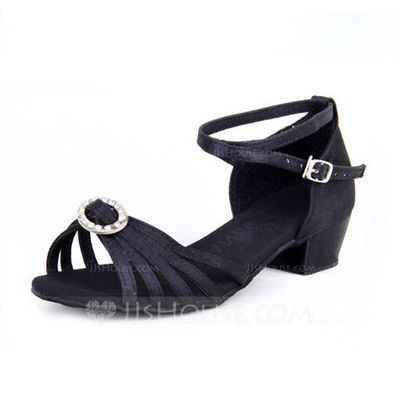 Women's Kids' Satin Heels Sandals Latin With Rhinestone Ankle Strap Dance Shoes (053065744)