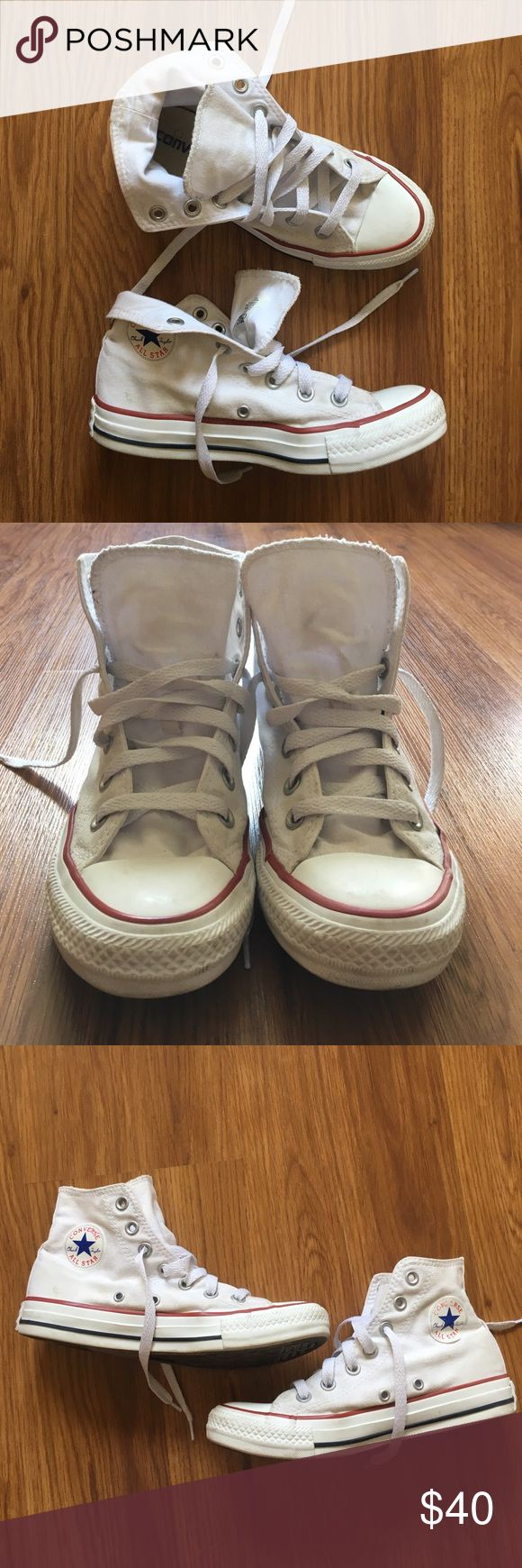 ✨FLASH SALE✨Converse High Top Chuck Taylors Pre loved high tops in good condition. They have some signs of wear but have been cleaned up and are bright white! Minor discoloring on the canvass and some signs of wear on the rubber (logo rubbed) the logo is peeling up a bit as well. All signs of wear are pictured! These shoes are a mens 6 which will fit a womans 5.5-6! Converse Shoes