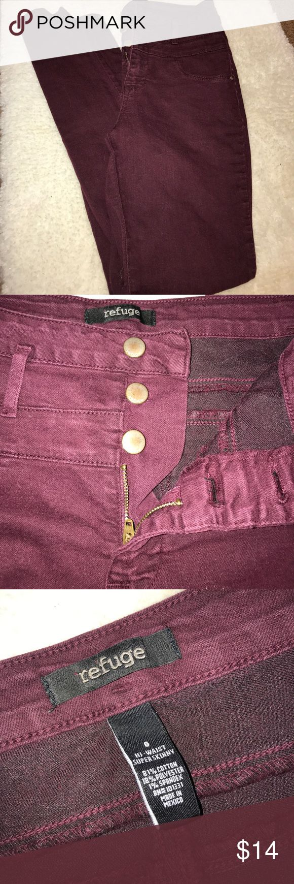 Burgundy high waisted jeans Burgundy high waisted jeans from Charlotte Rouse. Worn once. Great condition! Charolette Rouse Jeans