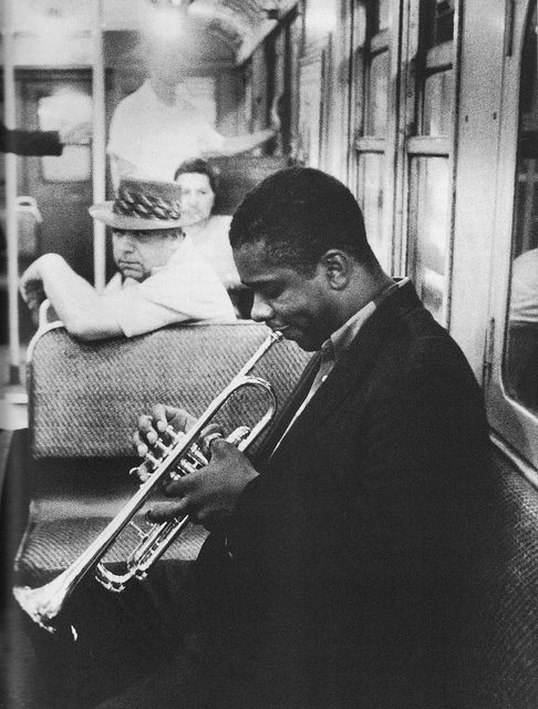 Donald Byrd hones his skills on the subway en route to a Manhattan session #trumpet