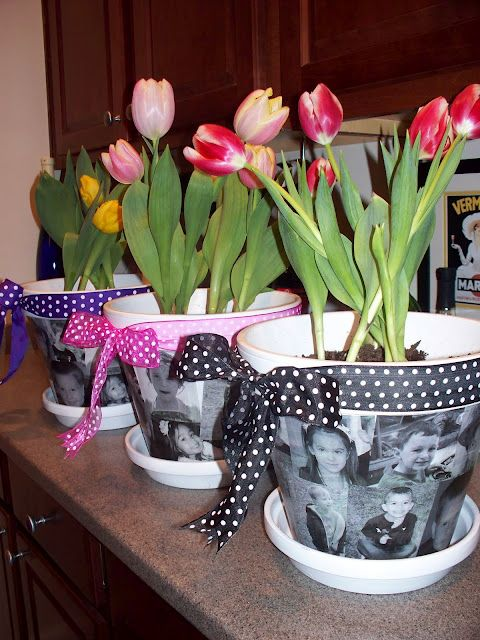 Mother's Day Gift Idea ~ Personalized Photo Flower Pots for mom or grandma... modge- family photos onto pots and add a pretty bow