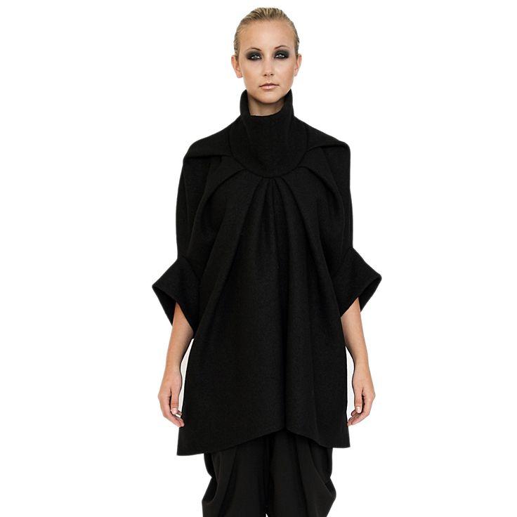 black wool cape on TROVEA.COM