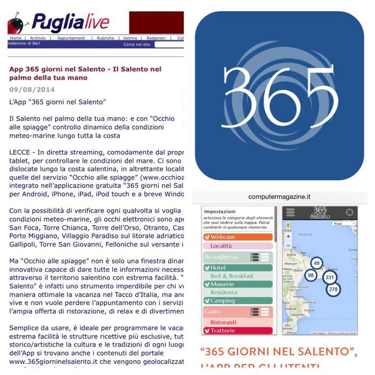 #Grazie a Puglialive.net e Computermagazine.it che parlano di #365giorniNelSalento #app: #accoglienza, #gusto, #Attrattività, #Stabilimenti balneari, #webcam #live su 13 località balneari, #eventi e tutto ciò che vorreste saper del #Salento! #Download #now on http://www.365giorninelsalento.it/it/w/l_app
