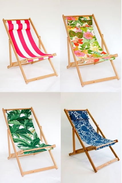 This post on one of my fave design blogs reminds me I have 2 of this type of deck chair to restore -- just need to find the right, fun fabric for slings! Like the little 'pillows' too.