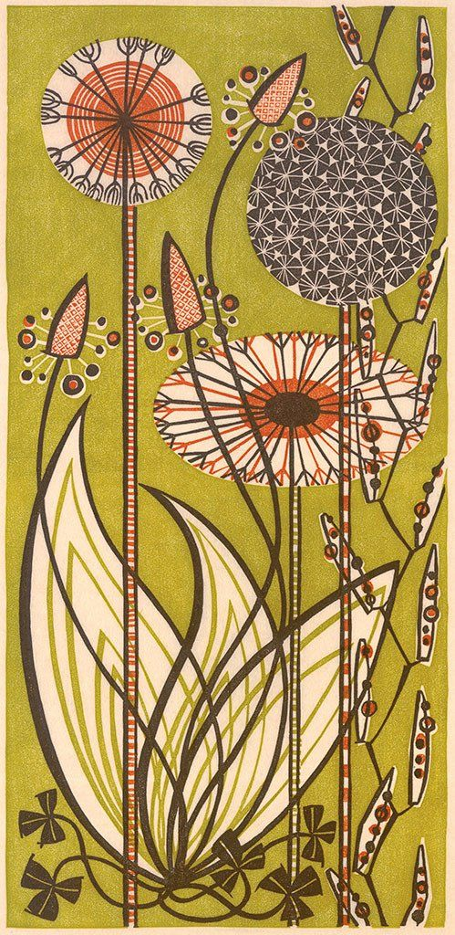 Angie Lewin 'Dandelions' linocut (2003) - one of a number of Angie's limited edition prints which will feature in 'A Printmaker's Journey' from 11th March 2017 at The Gallery at Winchester Discover Centre