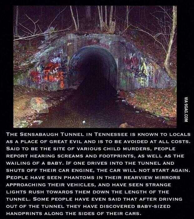 Don't go at nigh and u can't drive ur car through the tunnel I've been here I live close enough to it and I've even walked through it it is not scary