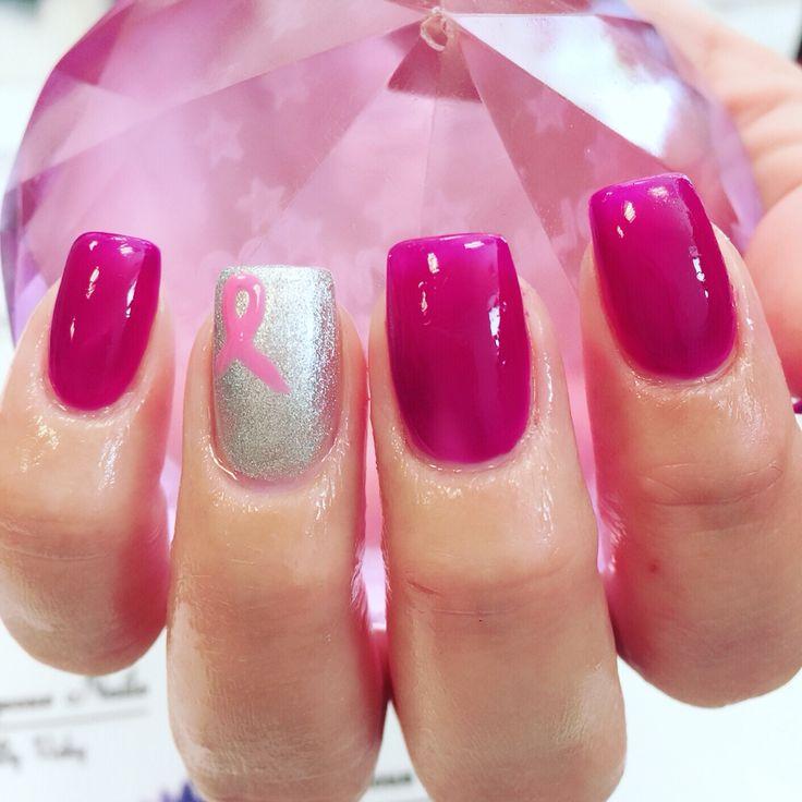 Breast cancer awareness pink ribbon nails
