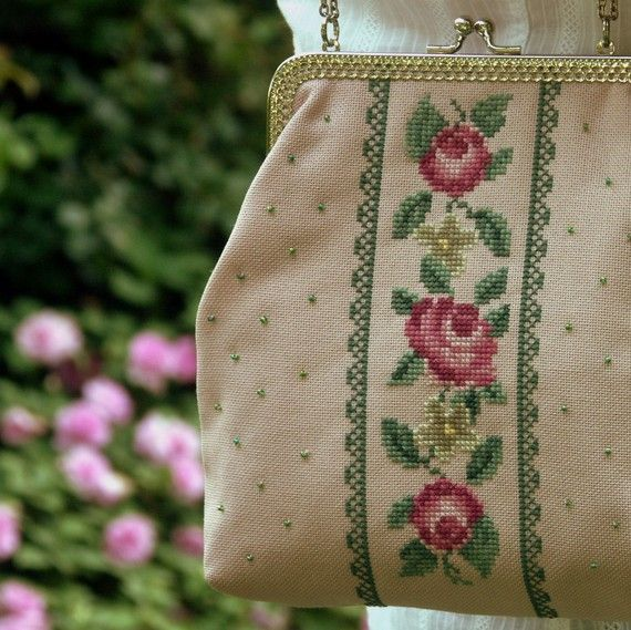 handbag cross stitch roses in pink