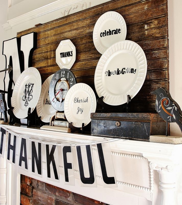"""Thanksgiving """"Thankful"""" Mantel....So easy to do!  Just add letters to plates with your favorite Thanksgiving inspiration!"""