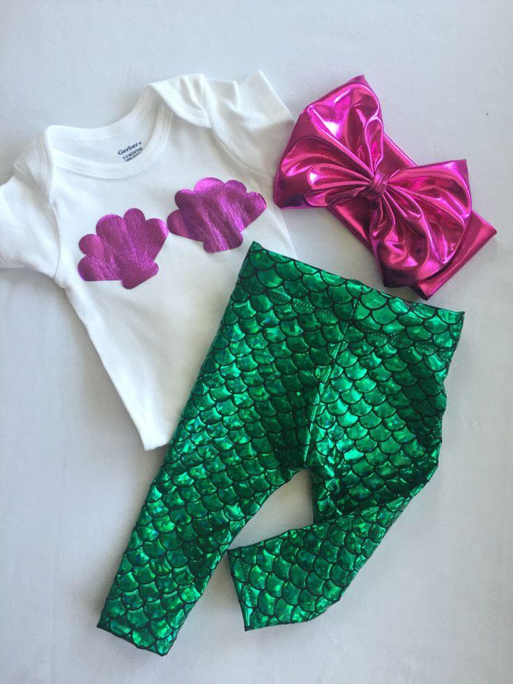 Baby Girl and Toddler Mermaid Leggings, Onesie & Headband by knotsandthreads1 on Etsy https://www.etsy.com/listing/286377055/baby-girl-and-toddler-mermaid-leggings