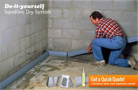 Do-it-yourself basement waterproofing SquidGee Dry System