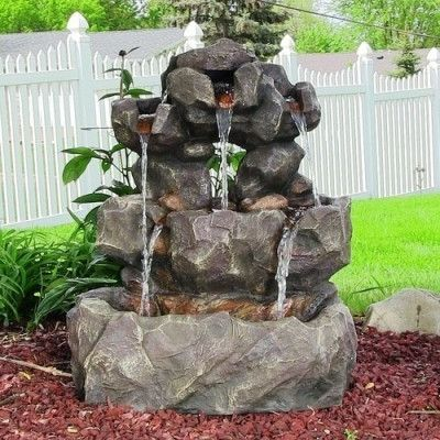 Layered Rock Waterfall Outdoor Fountain w/ LED Lights by Sunnydaze Decor- Free Shipping