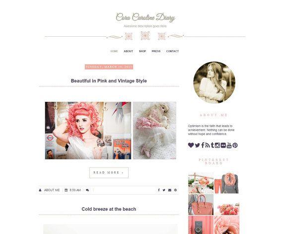 Pink Premade Blogger Theme  Fashion Blog by DigitalBeautiful