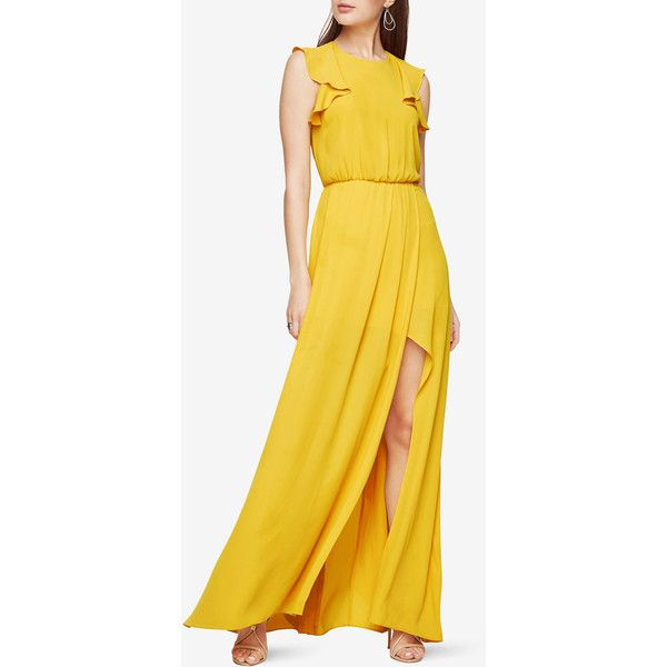 BCBGMAXAZRIA Angelika Ruffled Gown ($298) ❤ liked on Polyvore featuring dresses, gowns, light sunflower, draped gown, floor length evening gowns, yellow sleeveless dress, sleeveless dress and bcbgmaxazria gown