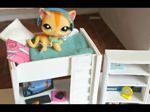 LPS DIY How to make an LPS bunkbed with desk Littlest Pet shop EASY - YouTube