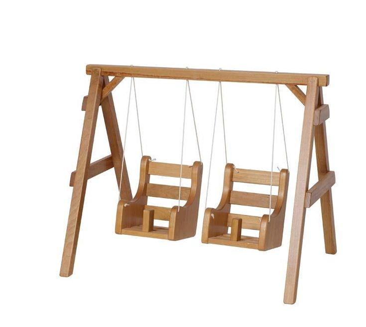 Wooden Doll Playground Swing It's a fun day at the park for dolls with this delightful wooden swing set from DutchCrafters.