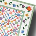 Aunt Gracie's Garden fat quarter friendly shoo fly 54-40 quilt block - FREE PDF pattern download - same quilt as Emily's Wedding Quilt with different borders