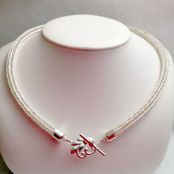 Ladies Viking Knit Necklace front toggle close by DonnaDStore