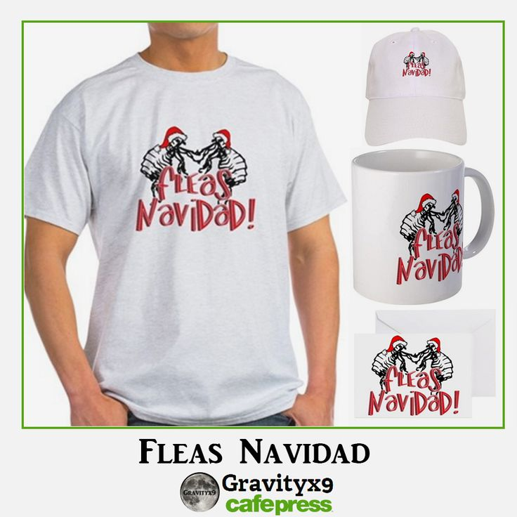 Dancing Fleas at Christmas wishing you a Fleas Navidad!  Find this design on gifts, shirts and more at Cafepress by #Gravityx9 Designs #Sports4you -