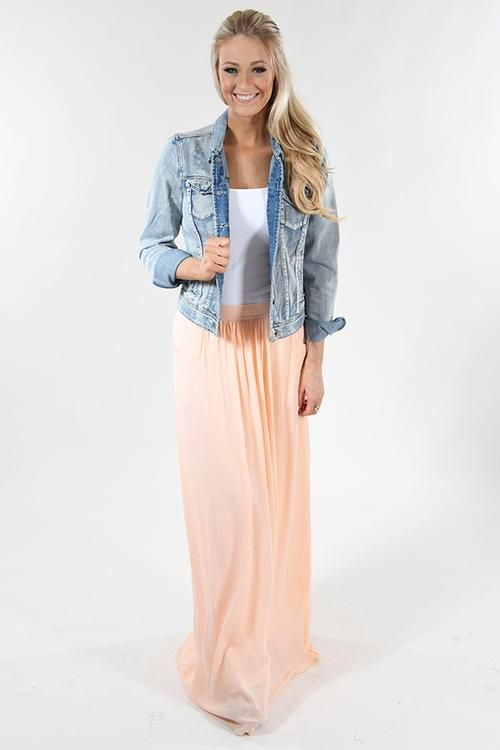 Must Have Jean Jacket with white undershirt, flowy light pink skirt. Stunning. Pry my one raced back tanks layered 2 at a time would be perfect. Otherwise, maybe 2 forever 21 or a single Amazon one if you put a flannel over it that matches the skirt. Would totally work with the blue one I Love!  Maybe even this exact outfit with the pink sparkle racer back one I believe is from Victoria's Secret. Anyway, those would be close in color but that could be a benefit, especially with a denim shirt…