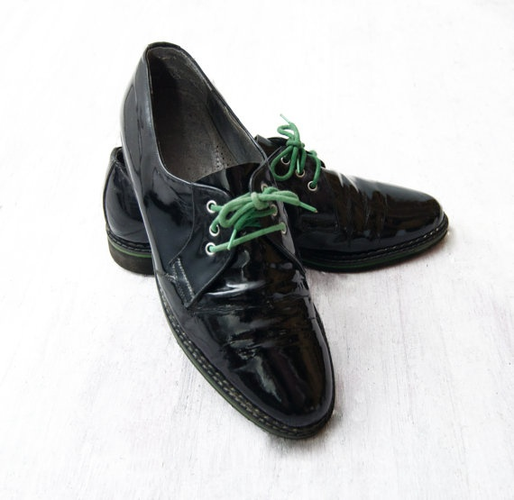 Vintage black Patent shoes with Green Laces by #ZvezdanaVintage, $65.00