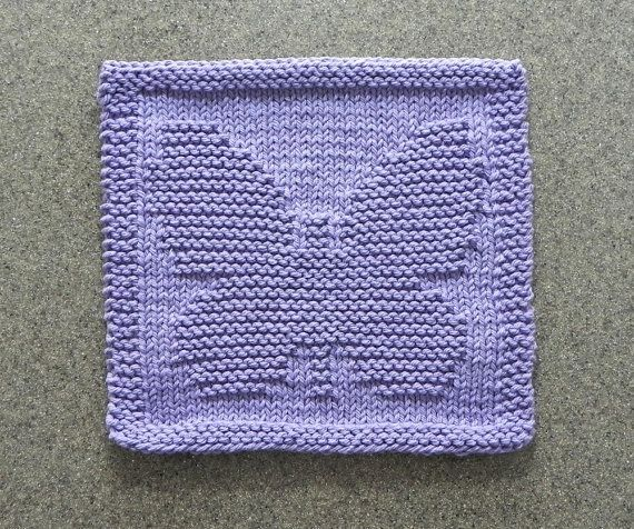 BUTTERFLY Knit Dishcloth - Wash Cloth - Lavender 100% Cotton - Hand Knitted Unique Design - Dish Cloth - Baby Nursery - Shower Hostess Gift