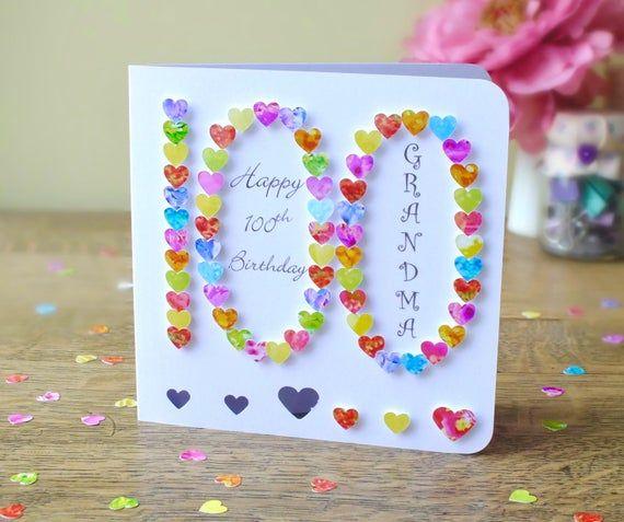 100th Birthday Card Personalised Handmade 3d 100 Etsy 100th Birthday Card 60th Birthday Cards Birthday Cards