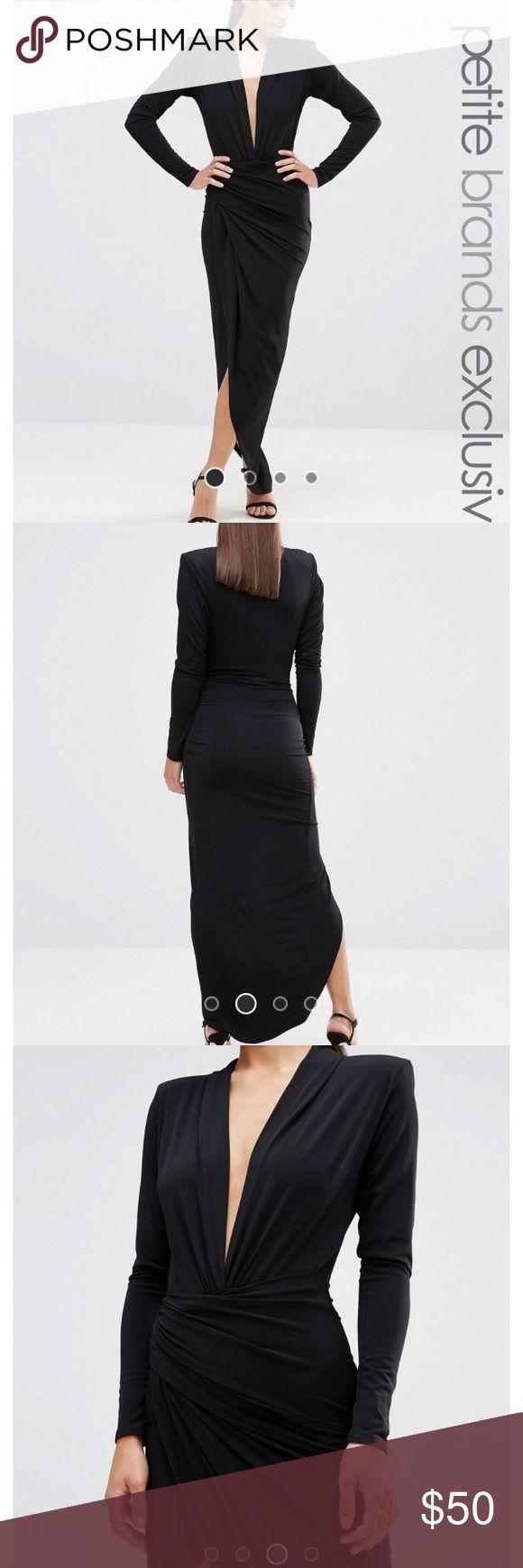 ASOS petite john zack dress John Zack Petite dress from ASOS. Plunge neckline, stretch slim fit dress with thigh slit & structured shoulders. US size 2 ASOS Petite Dresses Midi