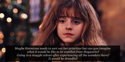 """""""Maybe Hermione needs to sort out her priorities but can you imagine what it would be like to be expelled from Hogwarts? Going to a muggle school after experiencing all the wonders there? It would be dreadful!"""" THIS."""