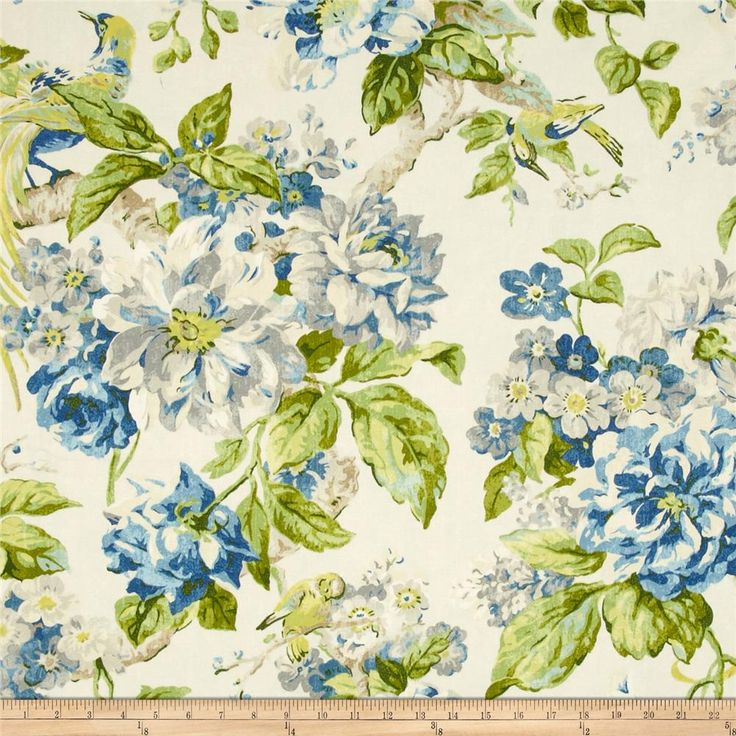 Waverly Floral Engagement Twill Porcelain Valance Curtains
